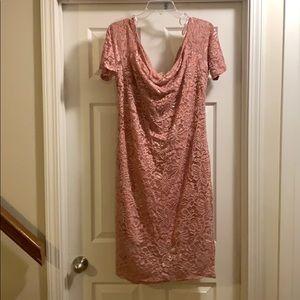 Love J Soft Pink Fitted Lace Dress B1-L1